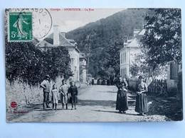 C.P.A. : 19 SPONTOUR : La Rue , Animé, Timbre En 1912, RARE - France