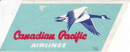 ANTIGUA ETIQUETA DE LA COMPAÑIA AEREA CANADIAN PACIFIC AIRLINES (AVION-PLANE) - Etiquetas De Equipaje