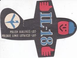 ANTIGUA ETIQUETA DE LA COMPAÑIA AEREA POLISH AIRLINES (AVION-PLANE) IL-18 - Etiquetas De Equipaje