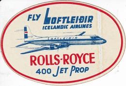 ANTIGUA ETIQUETA DE LA COMPAÑIA AEREA ICELANDIC AIRLINES (AVION-PLANE) ROLLS ROYCE - Étiquettes à Bagages