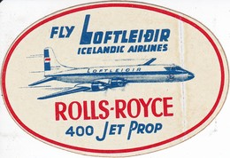 ANTIGUA ETIQUETA DE LA COMPAÑIA AEREA ICELANDIC AIRLINES (AVION-PLANE) ROLLS ROYCE - Etiquetas De Equipaje