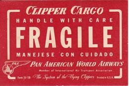 ANTIGUA ETIQUETA DE LA COMPAÑIA AEREA PAN AMERICAN AIRWAYS  (AVION-PLANE) PAA - Etiquetas De Equipaje