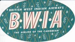 ANTIGUA ETIQUETA DE LA COMPAÑIA AEREA BRITISH WEST INDIAN AIRWAYS  (AVION-PLANE) BWIA - Etiquetas De Equipaje