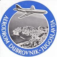 ANTIGUA ETIQUETA DEL AERODROMO DUBROVSNIK   (AVION-PLANE) JUGOSLAVIJA - Etiquetas De Equipaje