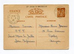 !!! PRIX FIXE : ENTIER IRIS CACHET DE ST MARS DU 5/10/1940 (1ER JOUR D'EMISSION) - Entiers Postaux