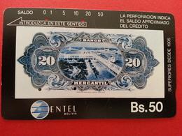 BOLIVIA Tamura - 20 Bolivianos Banknote Entel Telecard Bs.50 - Bolivie - Normal Used (CB1217) - Bolivia