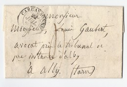 Lettre Avec  Texte De Carcassonne Vers Albi 20 Juillet 1836 - Marcophilie (Lettres)