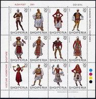 Albania Stamps 2001. National Costumes. Set Sheet. MNH.  Michel 2786-2797 - Albania