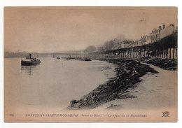 CPA - CONFLANS-SAINTE-HONORINE - LE QUAI DE LA REPUBLIQUE - REMORQUEUR - Publicité Au Verso - N/b - Vers 1910 - - Conflans Saint Honorine