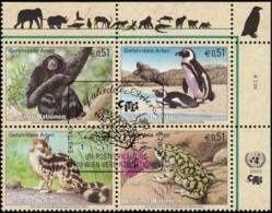U.N. Vienna Austria - Scott #311a Endengered Species / Used Block Of 4 Stamps (bk1054) - Wien - Internationales Zentrum