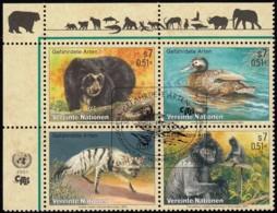 U.N. Vienna Austria - Scott #287a Endengered Species / Used Block Of 4 Stamps (bk1055) - Wien - Internationales Zentrum