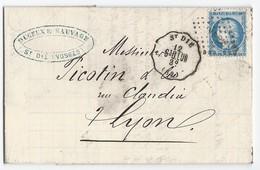Lettre Cérès N° 60 C De St Dié Des Vosges Vers Lyon 12/11/1874 TAD Convoyeur Station St Dié - Marcophilie (Lettres)