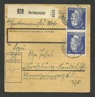 Packetkarte HARTMANNSHOF 09.06.1943 Nach STRASSBURG - Germany