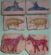 Lot 3 Anciens Moules En Grès Pour Figurines, Animaux Années 1920's-40's FB Paris - Horses