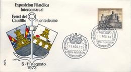 1973, SOBRE CON MATASELLOS ESPECIAL , CORUÑA - EXPO. FILATÉLICA INTERCOMARCAL , FERROL , PUENTEDEUME - 1971-80 Storia Postale