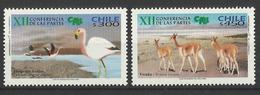 CHILE   2002  CITES - FLAMINGO,DEER -  SET  MNH - Oiseaux