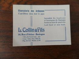 CV /    CHARCUTERIE DES ARDENNES  / L. COLLIN & FILS /BASTOGNE - Cartes De Visite