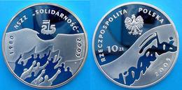 POLAND 10 Z 2005 ARGENTO PROOF SILVER SOLIDARNOSC NSZZ 1980 25 YEARS PESO 15,5g. TITOLO 0,925 CONSERVAZIONE FONDO SPECCH - Polonia