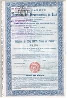Obligation Ancienne - Compagnie Des Chemins De Fer Départementaux Du Tarn - Titre De 1906 - Chemin De Fer & Tramway