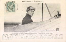 AVIATEUR RENE SIMON MONOPLAN N°3 COUPE MICHELIN + VIGNETTE DIJON AVIATION - Aviateurs