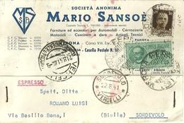 """1263 """" SOCIETA' ANONIMA MARIO SANSOE'- FORN. ED ACCESSORI PER AUTO-CARROZZ.-MOTOCICLI.........."""" CART. POST.  OR. SPED. - Commercio"""
