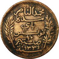 Monnaie, Tunisie, Muhammad Al-Nasir Bey, 10 Centimes, 1916, Paris, TB, Bronze - Tunisie