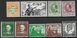 Ireland  1941-4   9 Diff    MH  2016 Scott Value $16.45 - Unused Stamps