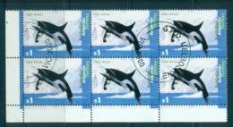 AAT 1995 Killer Whale $1 Blk 6 CTO Lot72111 - Australian Antarctic Territory (AAT)