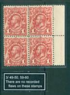 Australia 1913 1d Red Engraved Pl.3 Part Imprint RH Blk 4, Gum Spots, MUH Lot28123 - 1913-36 George V: Heads