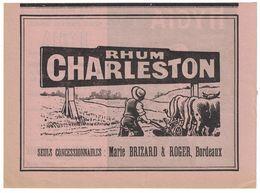 PUBLICITE EXTRAITE D'UN AGENDA RHUM CHARLESTON MARIE BRIZARD & ROGER BORDEAUX / AU DOS HYGIA A CARDOT & H. BERQUET LYON - Publicités