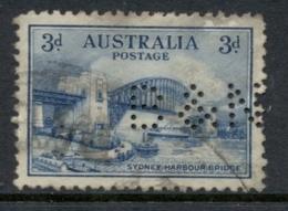 Australia 1932 Sydney Harbour Bridge 3d Perfin B&N FU - Used Stamps