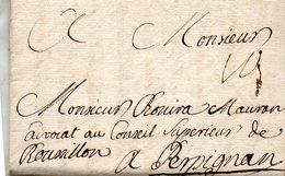 Correspondance De PARIS Le 20/7/1738 Pour PERPIGNAN.Taxe 10. - Poststempel (Briefe)