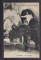 CPA CAMBODGE - Au Cambodge - A Dos D'Eléphant SUPERBE GROS PLAN Personnage Sur Eléphant + TB Oblitération 1909 - Cambodia