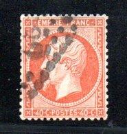 France / N 23 / 40 Centimes Orange / Oblitéré / Côte 15 € - 1863-1870 Napoleon III With Laurels
