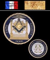 1 Pièce Plaquée OR ( GOLD Plated Coin ) - Franc Maçon Freemason Masonic ( A ) - Monnaies