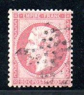 France / N 24 / 80 Centimes Rose / Oblitéré / Côte 60 € - 1863-1870 Napoléon III. Laure