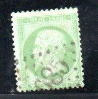 France / N 20 / 5 Centimes Vert / Oblitéré - 1863-1870 Napoleon III With Laurels