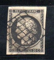 France / N 3 / 20 Centimes Noir / Oblitéré / Côte 65 € - 1849-1850 Cérès
