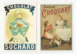 Cp, Publicité , CHOCOLAT SUCHARD , CHOCOLAT CHOQUART ,vierges , Ed. Clouet , LOT DE 2 CP - Publicité
