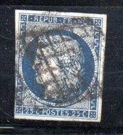 France / N 4 / 25 Centimes Bleu / Oblitéré / Côte 65 € - 1849-1850 Cérès