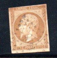 France / N 13A / 10 Centimes Bistre / Oblitéré / Côte 10€ - 1852 Louis-Napoleon