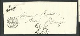 Maine Et Loire , Sarthes ,  Morannes ,sablé Sur Sarthe, Cursive Du 27 Mars 1854 Pour Baugé , Cachet 15 - 1801-1848: Voorlopers XIX
