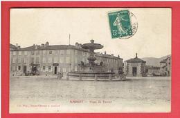 AMBERT 1912 PLACE DU FOIRAIL FONTAINE BUREAU D OCTROI BANQUE SOCIETE GENERALE TABAC CARTE EN BON ETAT - Ambert