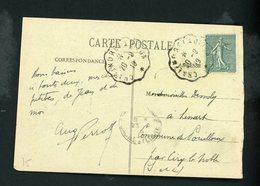 """FRANCE - TYPE SEMEUSE 15c Obli. CACHET AMBULANT DE """"CHALINDREY À DIJON  DE 1919"""" SUR CARTE POSTALE - Poststempel (Briefe)"""