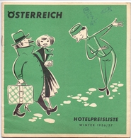 Brochure Dépliant Faltblatt Toerisme Tourisme - Österreich - Hotelpreisliste Winter 1956 - 1957 - Toeristische Brochures