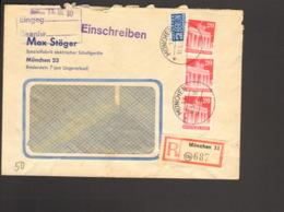 Bizone 3 X 20 Pfg. Bauten M.NO Auf Einschreibe-Fernbrief Aus München Von 1950 Ankunftstempel - Zone Anglo-Américaine