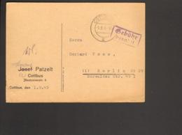 SBZ  Postkarte Aus Cottbus Von 1945 Mit Gebühr Bezahlt Stempel - Zone Soviétique