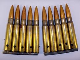 Lot De 2 Lames-chargeur De 5 Cartouches 7.92 Mauser Yougoslaves - Neutralisées - 1914-18