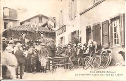 RARE !!! CHAMELET (69) La Place Des Halles Un Jour De Vogue (Superbe Animation) - France