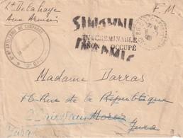 FRANCE  1940 LETTRE EN FRANCHISE DE LA CORREZE MENTION INADMIS /INACHEMINABLE/NON OCCUPE - Marcophilie (Lettres)